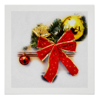 Red festive bow poster