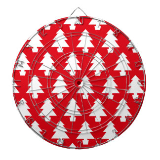 Red Festive Trees Dartboard