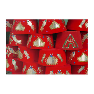 Red Fez Hats At Market Acrylic Print
