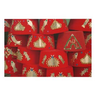 Red Fez Hats At Market Wood Print