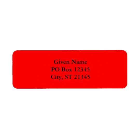 Red FF0000 Return Address Label