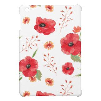 Red Field Flowers Pattern iPad Mini Covers