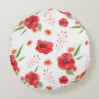Red Field Flowers Pattern Round Cushion
