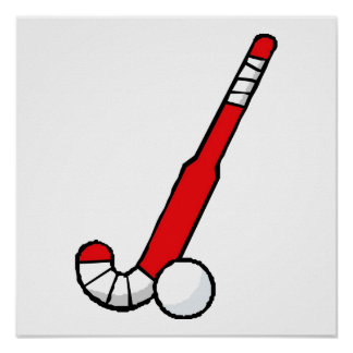 Red Field Hockey Stick Poster