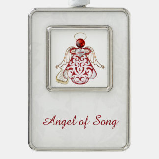 Red Filigree & Gold Christmas Angel of Song Silver Plated Framed Ornament