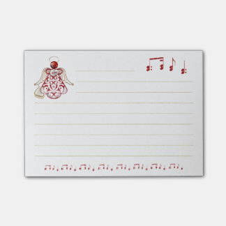 Red Filigree & Gold Christmas Angel of Song Post-it Notes