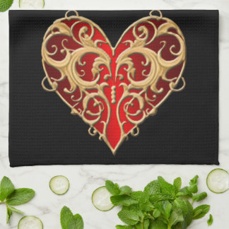 Red Filigree Heart Kitchen Towel