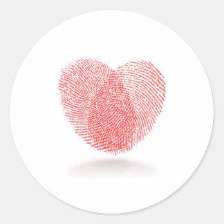 red fingerprint heart shape classic round sticker