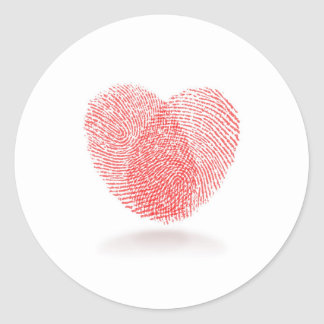 red fingerprint heart shape round sticker