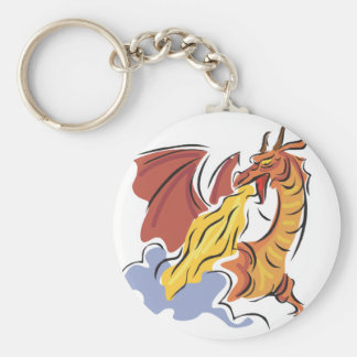 red fire-breathing dragon basic round button key ring