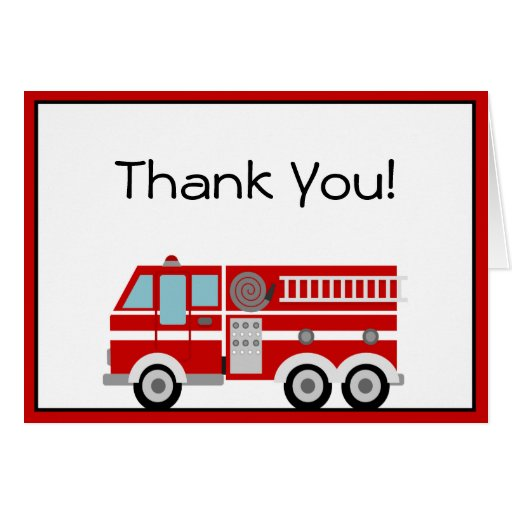 Red Fire Engine and Hat Thank You Note Cards