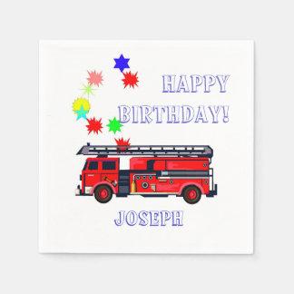 Red fire engine birthday paper serviettes