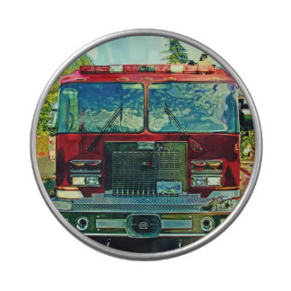 Red Fire Engine Emergency Vehicle Art Jelly Belly Candy Tins