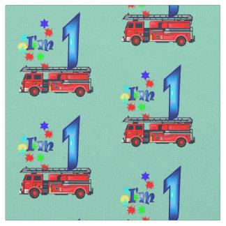 Red fire engine kids 1st birthday fabric