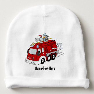 Red Fire Engine Name Customize Baby Beanie