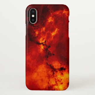 Red Fire Galaxy Pattern iPhone X Case