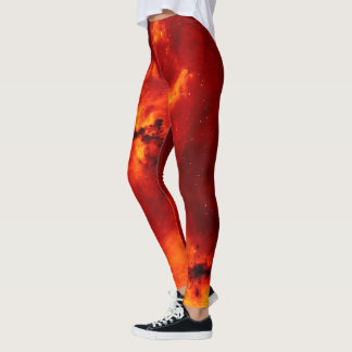 Red Fire Galaxy Pattern Leggings