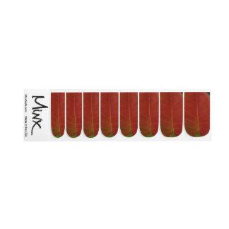 Red Fire Leaf Minx Nail Art