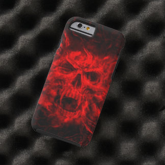 red fire skull head tough iPhone 6 case