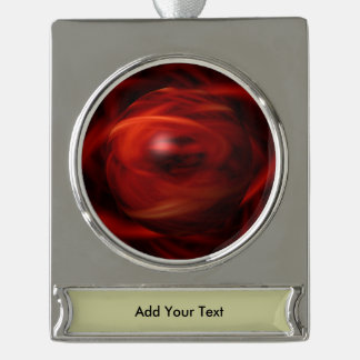 Red Fire Sphere Silver Plated Banner Ornament