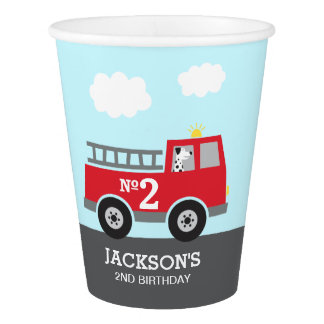 Red Fire Truck Birthday Paper Cup