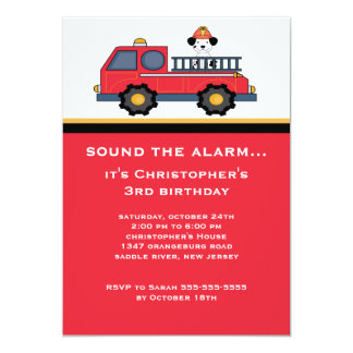 Red Fire Truck Birthday Party 13 Cm X 18 Cm Invitation Card