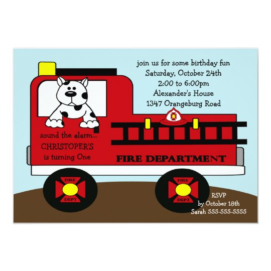 Red Fire Truck Birthday Party Card