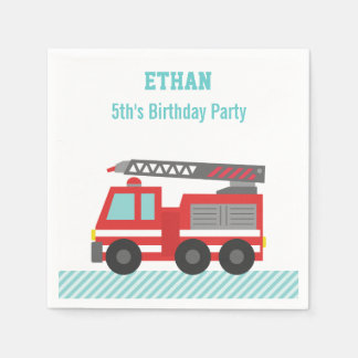 Red Fire Truck Birthday Party Disposable Serviettes