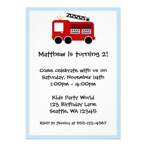 Red Fire Truck Blue Border Birthday Boy Invitation