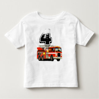 Red Fire Truck Boy's 4th Birthday Toddler T-Shirt