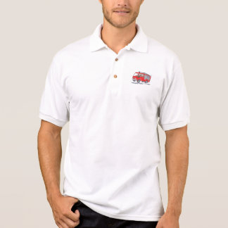 Red Fire Truck Fireman Caricature Polo Shirt