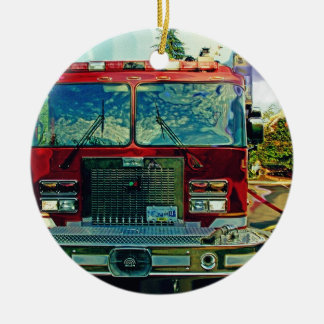 Red Fire Truck Fireman's Art Gift Ceramic Ornament