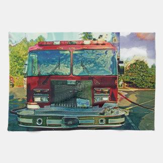 Red Fire Truck Fireman's Art Gift Tea Towel