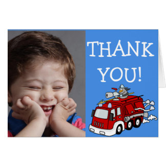 Red Fire Truck on Blue Thank You Note with Photo Card