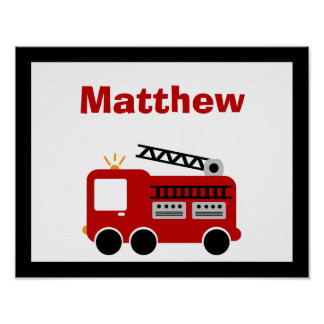 Red Fire Truck Personalized Name Wall Art Poster