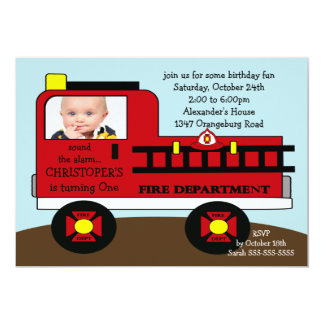 Red Fire Truck Photo Birthday Party Card