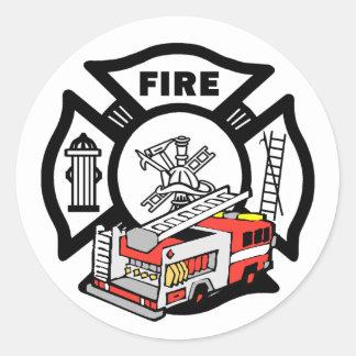 Red Fire Truck Round Sticker
