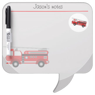 red fire truck vintage style in red dry erase board