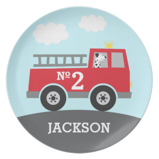 Red Fire Truck with Dalmatian Plate
