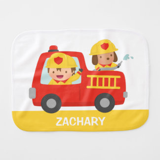 Red Fire Truck with Fire fighter Boy and Dog Baby Burp Cloths