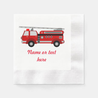 Red Fire truck with text Disposable Napkin