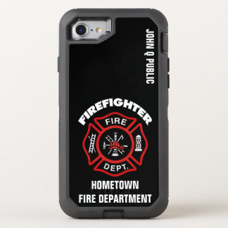 Red Firefighter Name Template OtterBox Defender iPhone 8/7 Case
