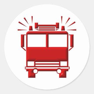 Red Firetruck Classic Round Sticker