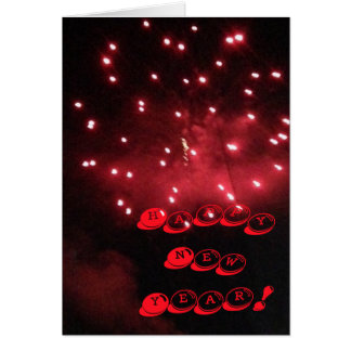 Red Fireworks Happy New Year Greeting Cards