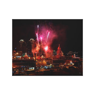 Red Fireworks Over The Kansas City Plaza Lights Stretched Canvas Print