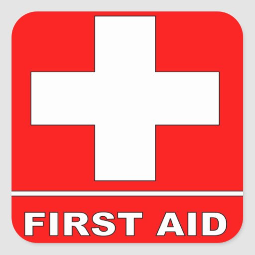 Red First Aid Sign Stickers