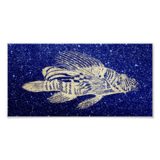 Red Fish Sea Life Blue Navy Beach Aqua Foxier Gold Poster