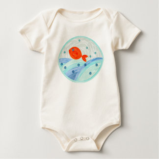 Red fish swimming baby bodysuit