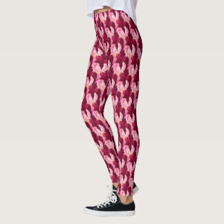 Red flag iris art pattern leggings