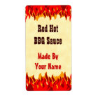 Red Flames Custom BBQ Hot Sauce Canning Labels